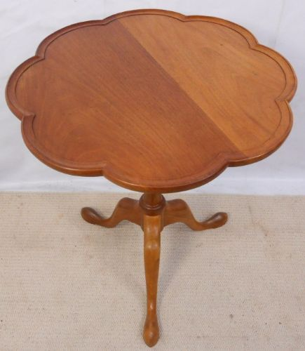 Shaped Top Cherry Wood Tripod Table